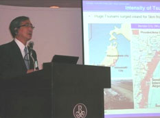 Haruki Takahashi, JGA Vice Chairman, delivering a presentation concerning the Great East Japan Earthquake