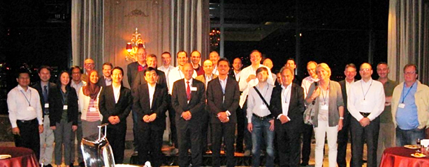 Participants at a welcome reception held at the Hotel Monterey Grasmere Osaka on May 13